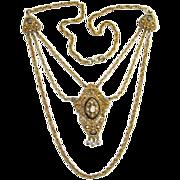 Florenza Renaissance Style Hinged Rhinestone Pendant Necklace Triple Chain Costume Jewelry