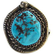 Southwestern Tribal Turquoise Nugget Ring Sterling Silver Size 6 Navajo Style Bohemian Chic
