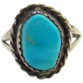 Navajo Style Turquoise Pinky Ring Size 5.5 Sterling Silver Oval Stone Southwestern Tribal Boho Bohemian