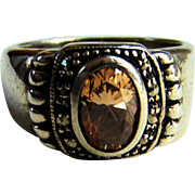 Vintage Sterling Silver Yellow Citrine and Marcasite Ring Hallmarked F Size 7
