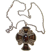 Britain Celtic Cross Scot Scottish Scotland Pendant Necklace Glass Faux Agate Brown Stones Gold Tone Signed