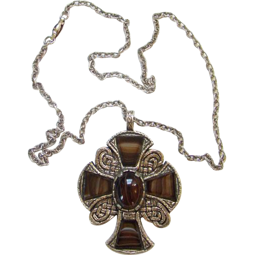 Britain Celtic Cross Scot Scottish Scotland Pendant Necklace Glass Faux Agate Brown Stones Gold Tone Signed