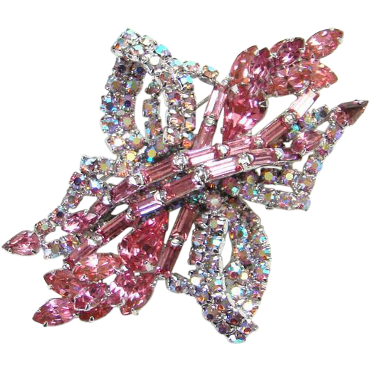 Pink and Aurora Borealis Rhinestone Pin Brooch Silvertone Vintage Unsigned Beauty Costume Jewelry