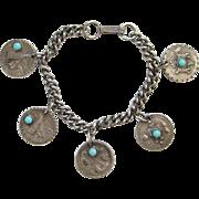 Native American Indian Theme Charm Bracelet Silvertone Turquoise Glass Vintage