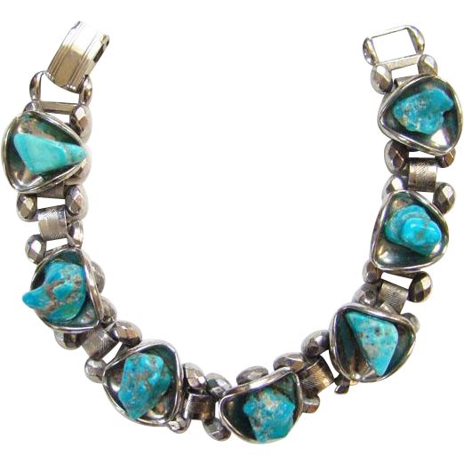 Silvertone Link Bracelet Turquoise Dyed Nugget Unsigned Gypsy Bohemian Boho Chic
