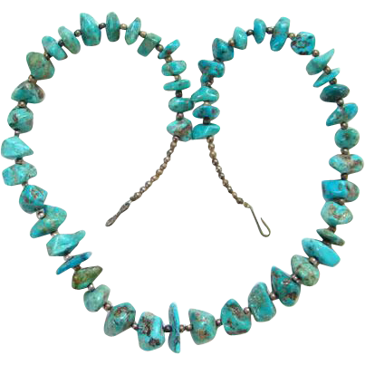 Vintage Graduated Turquoise Nugget Bead Necklace Silver Color Spacers 21 Inch Boho Bohemian Chic