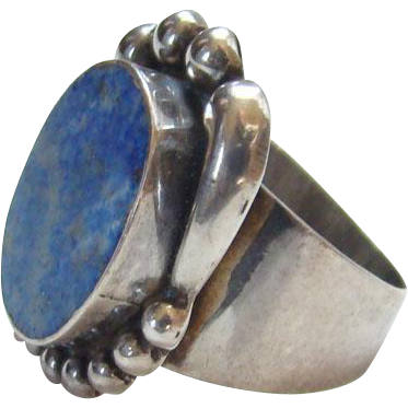 Sterling Silver Ring Blue Lapis Lazuli Stone Marked 925 Size 6.5 Southwestern Boho Bohemian Chic