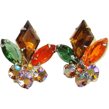 Juliana Rhinestone Clip Earrings 1962 Autumnal Topaz Tangerine Green DeLizza Elster Book Piece Verified