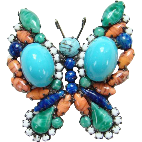 Juliana Art Glass Figural Butterfly Pin Turquoise Orange Green Blue White Black Plated Setting DeLizza Elster Verified