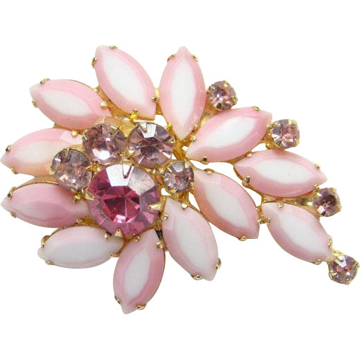 Juliana Pink Two Tone Rhinestone Pin Brooch C1965 DeLizza Elster Book Piece