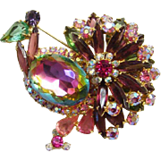 Juliana Rhinestone Peacock Brooch Pin Pink Green Heliotrope DeLizza Elster Book Piece