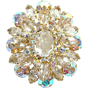 Juliana Clear Rhinestone Tiered Oval Brooch Pin Aurora Borealis DeLizza Elster Verified