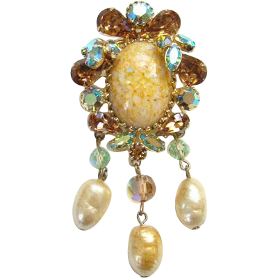 Vendome Rhinestone Pendant Brooch Faux Baroque Pearl Dangles Champagne Blue Aurora Borealis Rhinestones Art Glass Stone Costume Jewelry