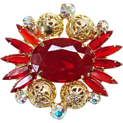 1962 Juliana Red Rhinestone Pin Brooch Goldtone Filigree Balls DeLizza Elster Book Piece Verified