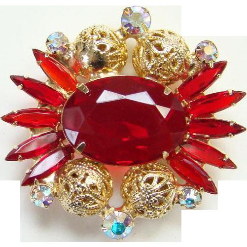 1962 Juliana Red Rhinestone Pin Brooch Goldtone Filigree Balls DeLizza Elster Book Piece Verified