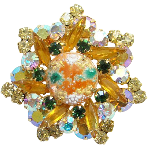 Juliana 1963 Star Design Rhinestone Pendant Brooch Coral Gold Splattered Book Piece DeLizza Elster