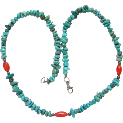 Turquoise Nugget and Coral Color Bead Southwestern Style Choker Necklace Boho Bohemian