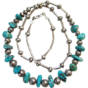 Native American Sterling Silver Turquoise Nugget Necklace Signed BS Southwestern Tribal Indian Jewelry