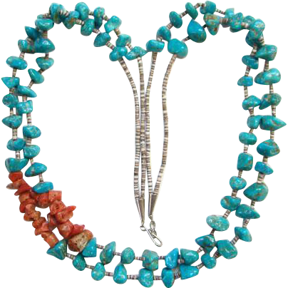 Turquoise Nugget Coral Heishi Bead Necklace Two Strand Southwestern Tribal Indian Jewelry Bohemian Chic