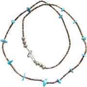 Vintage Heishi Bead Turquoise Nugget Necklace Sterling Beads Southwestern 25 Inch