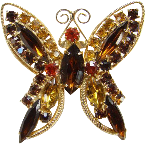 Unsigned Figural Butterfly Pin Topaz Orange Rhinestones Wire Frame Goldtone