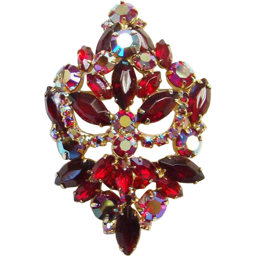 Ruby Red and Garnet Color Rhinestone Aurora Borealis Brooch Pin Gorgeous Unsigned Beauty