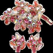 Pink Givre Rhinestone Brooch Pin Earrings Set Stylized Leaf Design Costume Jewelry