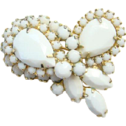 Juliana White Milk Glass Rhinestone Brooch Pin DeLizza Elster Book Piece Costume Jewelry