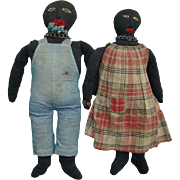 Fabulous Pair Black Stockinette Cloth Rag Dolls American Folk Art Possibly Man Woman Slaves