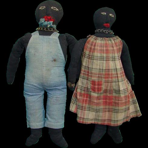 Fabulous Pair Black Stockinette Cloth Rag Dolls American Folk Art Possibly Man Woman Slaves