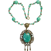 Art Deco Peking Glass Bead Pendant Necklace Filigree Enamel C1920s
