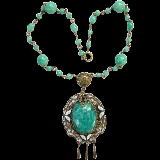 Art Deco Peking Glass Bead Pendant Necklace Filigree Enamel C1920s