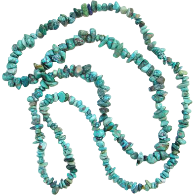 Vintage Turquoise Nugget Bead Single Strand Graduated Necklace 36 Inch Boho Bohemian Chic