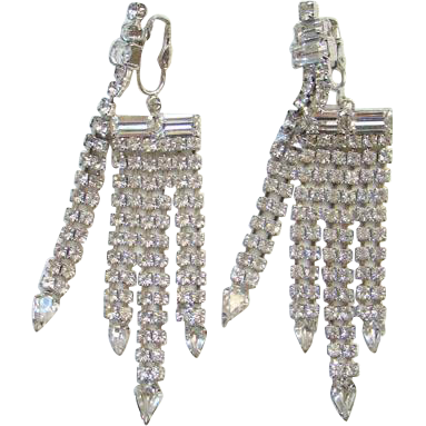 Clear Crystal Rhinestone Clip Chandelier Drop Dangle Earrings Rhodium Plated Wedding Bridal Bride