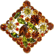 Juliana Bold Flower Rhinestone Brooch Pin Topaz Orange Watermelon Green Yellow DeLizza Elster Book Piece