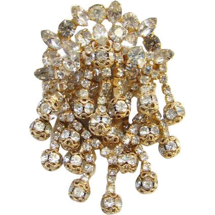 Clear Rhinestone Pendant Brooch Elaborate Three Layers Goldtone Filigree Rondels