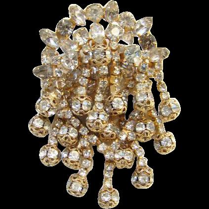 Vintage Clear Rhinestone Pendant Brooch Elaborate Three Layers Goldtone Filigree Rondels