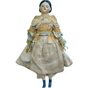 Antique Greiner Style Papier Mache Milliners Model Doll 11.5 Inch C1850 Original Clothing