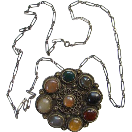 Vintage Ethnic Old India Indian Necklace Pendant Brooch Agate Stones Boho Bohemian Chic