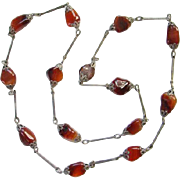 Art Deco Czech Glass Flapper Length Link Necklace Topaz Beads Filigree End Caps Silvertone Chain