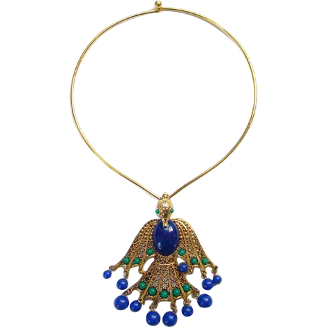 Vintage Egyptian Style Blue Green Peacock Pendant Necklace on Monet Goldtone Collar Runway Appeal Signed