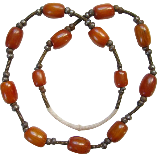 Vintage Butterscotch Amber Bakelite African Tribal Trade Necklace Boho Bohemian Chic