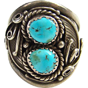 Navajo Dorothy Spencer Turquoise Sterling Ring C1970s Size 11.75 Native American Indian Jewelry Signed