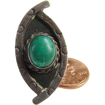 Taxco Mexico Green Turquoise Sterling Silver Ring Size 6 Mexican Jewelry Boho Bohemian Chic