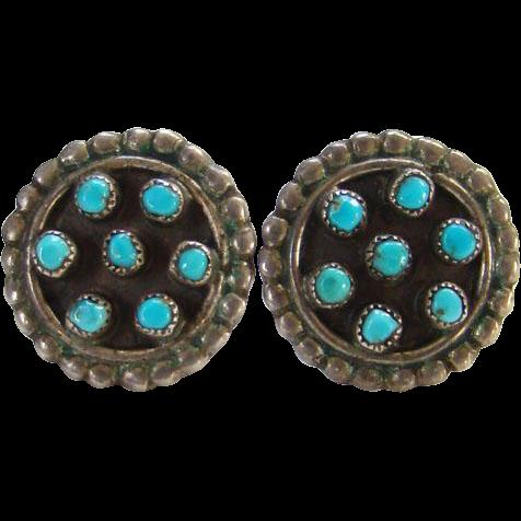 Navajo Style Snake Eye Pierced Post Earrings Sterling Silver Southwestern Tribal