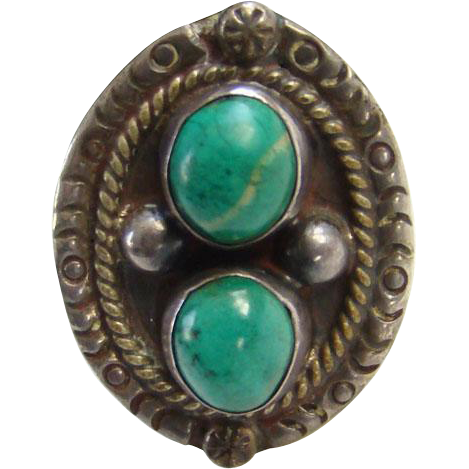 Taxco Mexico Turquoise Ring Sterling Silver 0925 Size 11.75 Mexican Jewelry Boho Bohemian Chic Signed