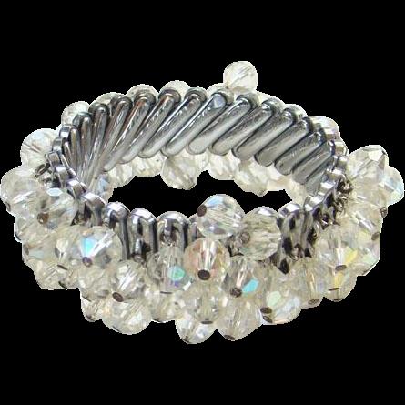 Expandable Crystal Bead Dangle Cha Cha Bracelet Vintage Marked Japan