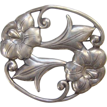 Sterling Silver Brooch Pin Art Nouveau Style Floral Old Signed