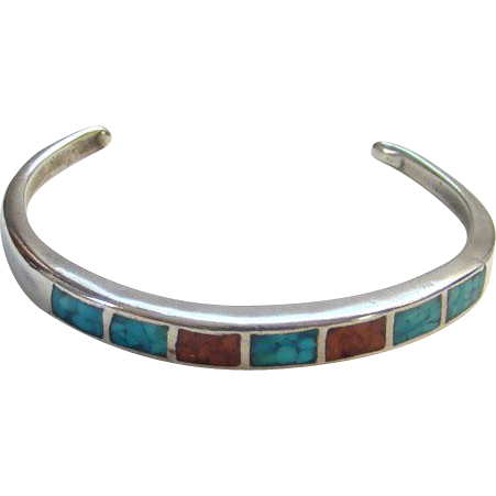 Child Sterling Silver Cuff Bracelet Turquoise Coral Chip Mosaic Small Size Southwestern Tribal