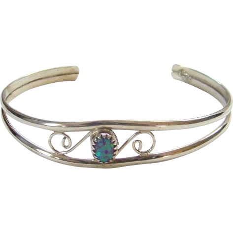 Southwestern Tribal Sterling Silver Cuff Bracelet Green Opal Stone Marked